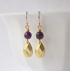 Hey, I found this really awesome Etsy listing at https://www.etsy.com/listing/169405281/natural-amethyst-purple-and-gold-dangle