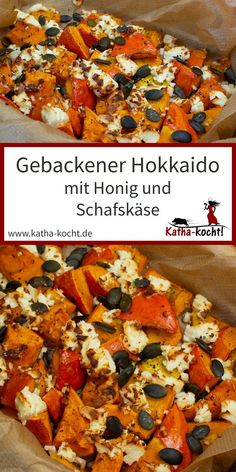 Baked Hokkaido with honey and sheep& cheese - Katha-kocht! - Pumpkin out of the oven is a wonderful thing and a great, uncomplicated dinner. My baked Hokkaido w - Sheep Cheese, Clean Eating Dinner, Spaghetti Recipes, Healthy Salad Recipes, Pumpkin Recipes, Soul Food, Vegetable Recipes, Food Inspiration, Food Porn