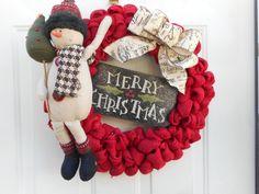 Christmas burlap wreath Holiday burlap wreath by ChloesCraftCloset