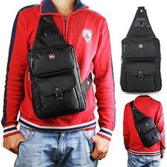 High Quality MEN Chest Pack Fashion Black Shoulder Messenger BAG Small Backpack | eBay
