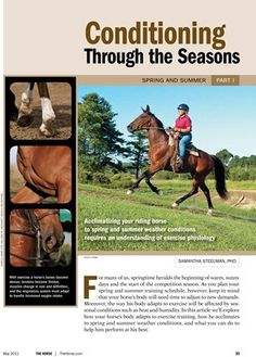 [FREE REPORT] Conditioning Through the Seasons: Spring and Summer - TheHorse.com | How your horse's body adapts to exercising and how he acclimates to spring and summer weather conditions. #horses