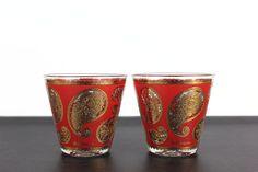 Culver Ltd Glasses Red Gold Paisley Lowball Rocks Mid Century Barware on Etsy, $20.00