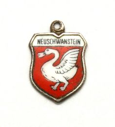 Neuschwanstein Germany Enamel Travel Shield 800 Silver Bracelet Charm New Swan Castle by SterlingRevival on Etsy