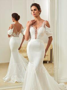 V-Neck Appliques Zipper-Up Court Train Mermaid Wedding Dress - m.tbdress.com