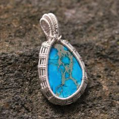 Pin Now Click Later Blue Imperial Aqua Terra Ocean Sea Jasper Pendant, Fern Leaf Wire Weave Wrap, This is my favorite style of wire wrap on one of my favorite stones. The double bail adds a professional finish to this Beautiful Piece of Jewelry. By www.WanderingRockDesigns.etsy.com
