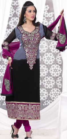 $70 Grey and Black Embroidered Faux Georgette Pakistani Salwar Kameez 23130
