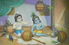 Balarama and Krishna are at it again, breaking pots and relishing yummy butter and yogurt stored within. Animal friends get some, too.