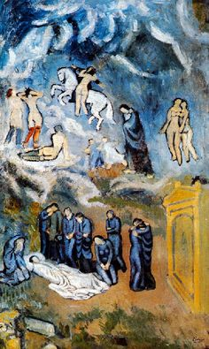 Picasso, Pablo - Evocation (The Burial of Casagemas) 1901 which Picasso uses, in a mocking, ironically religious and Spanish way, the visionary style of El Greco to lament his friend Carles Casagemas – but the heavenly revelation is populated by prostitutes in stockings... | The start of his blue period