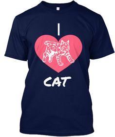 I Love Cat Navy T-Shirt Front