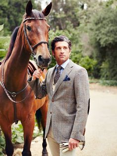 Menswear ...as nice as Patrick Dempsey looks, the horse is the one making me swoon! so I'm pinning accordingly