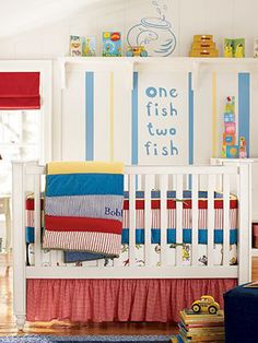 Dr. Seuss Nursery. Love this and primary color and supposed to be stimulating for babies because they understand those color better than more complex colors.