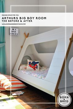 Lets talk about this awesome bed! Heaps of inspiration here! Attic Bedrooms, Kids Bedroom, Bedroom Decor, Studio Kids, Teepee Bed, Boy Room, Child Room, Interior Design Companies, Kids Decor