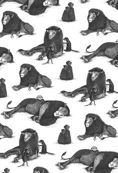 Lions and Meerkats Toile - Allira Tee