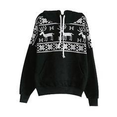 Black Long Sleeve Deers Print Pocket Front Hoodie (€25) ❤ liked on Polyvore featuring tops, hoodies, sweaters, jackets, hooded pullover, long sleeve hoodie, long sleeve hoodies, long sleeve tops and hoodie top