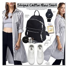"""""""Striped Chiffon Maxi Shirt"""" by oshint ❤ liked on Polyvore featuring Vans and Chanel"""