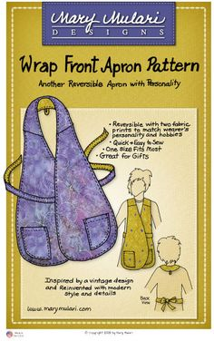 Wrap Front Apron Pattern from Mary Mulari Designs. Vest look reversible apron--vintage inspired and updated with shaped pockets, back loop for hanging up the apron, and options for rounded or squared bottom edges. Sewing Hacks, Sewing Tutorials, Sewing Crafts, Sewing Tips, Sewing Ideas, Sewing Aprons, Sewing Clothes, Doll Clothes, Bordados E Cia
