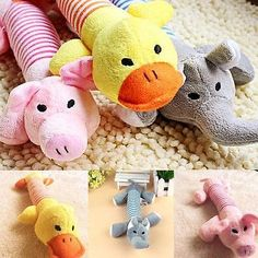Funny Pet Dog Puppy Plush Sound Chew Squeaker Squeaky Pig Elephant Duck Toys W