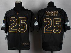 Nike Philadelphia Eagles #25 LeSean McCoy 2014 All Black/Gold Elite Jersey