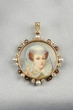 Antique Portrait Miniature Pendant, depicting an elaborately dressed and bejeweled maiden, framed by pearls and old mine-cut diamonds, gold mount, dia. 1 3/8 in.