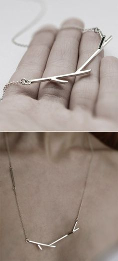 Twig necklace / mirta on etsy. Good for layering with ,say, ghetto gold name plate.