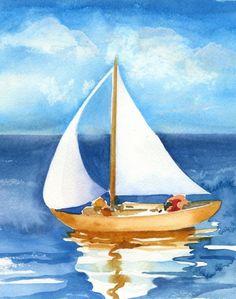 watercolor sailboat painting - Google keresés