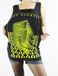 THE STROKES Indie Rock Revival Post Punk Revival Rock Music Shirt Black Shirt Singlet Sleeveless Rock Tank Top Women Tunic Tank Shirt Size M