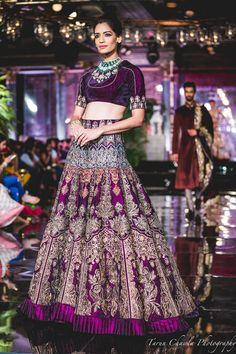 Manish Malhotra 2016 bridal collection , purple bridal lehenga , purple silk lehenga , elbow length crop top, reception lehenga