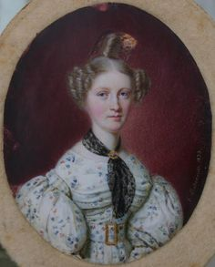 Miniature of a Lady in a white dress by anon.1833
