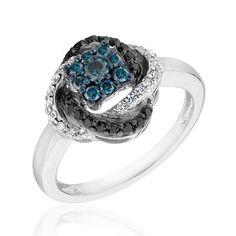 Diamond, Blue Diamond and Black Diamond Ring 1/2ctw REEDS.com $455.40