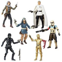 Star Wars The Black Series 6-Inch Action Figures Wave 8 Case.   Contains 6 individually packaged action figures:    1x SW R1 SERGEANT JYN ERSO JEDHA 1x SW R1 IMPERIAL DEATH TROOPER 1x SW R1 DIRECTOR KRENNIC 1x SW R1 SCARIF STORMTROOPER SQUAD LEADER 1x SW E7 C-3PO RESISTANCE BASE	 1x SW R1 CAPTAIN CASSIAN ANDOR EADU   (subject to change)