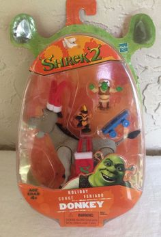 Shrek 2 Holiday Donkey Action Figure Set New in Package Hasbro 2004 #Hasbro