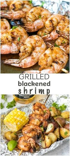 Msg 4 Grilled Blackened Shrimp Recipe - the ultimate grilling season food. Served with grilled corn on the cob and grilled potatoes in foil. Enjoy it with Corona Extra. via (Shrimp Butter Pasta) Pork Rib Recipes, Shrimp Recipes, Grilling Recipes, Fish Recipes, Cooking Recipes, Shrimp Appetizers, Grilling Tips, Cajun Cooking, Shrimp Dishes