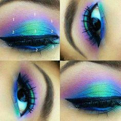 COLOR RUN- Mineral Eyeshadow and Eyeliner Makeup Look- All Natural, Vegan Friendly- Gift Set for you or a loved one! - Make-up - Lipstick Makeup Eye Looks, Eye Makeup Art, Eyeshadow Looks, Makeup Inspo, Makeup Inspiration, Makeup Tips, Peacock Eye Makeup, Makeup Ideas, Mermaid Eye Makeup