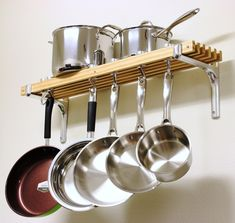 Kitchen Pot Rack Wall Mount Pan Storage Organizer Holder Hanging Cookware Hooks for sale online Pot Rack Hanging, Hanging Pots, Hanging Storage, Pan Storage, Kitchen Storage, Storage Ideas, Kitchen Racks, Kitchen Shelves, Storage Solutions