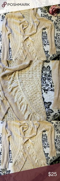 Anthropology fringed sweater Reposh- fabulous Anthropology sweater, great fringe detail and fun decorated back. Says size large but might be better for a medium IMO. GUC. Anthropology Sweaters Cardigans