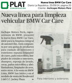 Inchcape Motors: Nueva línea BMW Car Care en el diario La República de Perú (25/09/14)
