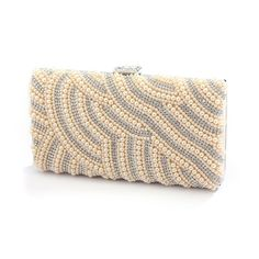 Pearl Bridal Evening Bag with Bezel Crystals - Honey Beige or Soft Cream