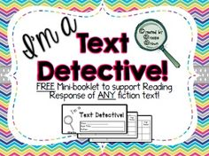 Copy this FREE product front to back, cut apart on the dotted lines, and staple into a mini-booklet for students to instantly respond to any fiction text! Perfect for use during literacy centers, guided reading, or whole class instruction.Students are asked to write responses AND back them up with text evidence as aligned with ELA Common Core State Standards (Grades 2-4).