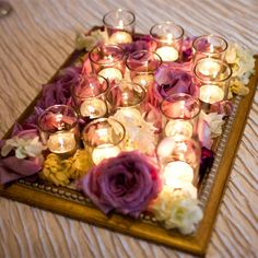 Framed Votive and Flower Lounge Centerpiece // Jenny DeMarco Photography // http://www.theknot.com/weddings/album/a-romantic-and-elegant-wedding-in-austin-tx-137232
