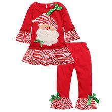 Children Christmas Sets Santa Claus Top Stripes Cotton Pants 2PC Outfit Suit Baby Girls Clothes Set Autumn Winter Kids Clothing(China (Mainland))