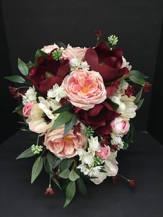 Mulberry bridal bouquet  Maroon, pink , white anemone flowers  Wedding  SouthernMagnoilaSilks@Instagram