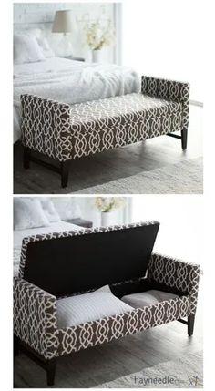 Home Decor Furniture, Bedroom Furniture, Diy Home Decor, Furniture Design, Bedroom Ottoman, Sofa Design, Ottoman Design, Home Bedroom, Bedroom Decor
