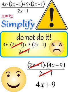 Non farlo! Semplificazione frazione