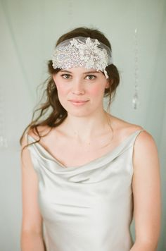 Rhinestone Crystal and Lace Bridal Bandeau Headband Bridal
