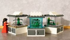 Custom Lego Pet Tanks - Fish, Frogs and Tarantula (minifigs not included).  For sale only on eBay.