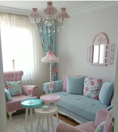 Cozy and Colorful Pastel Living Room Interior Style 28 Pastel Living Room, Shabby Chic Living Room, Cozy Living Rooms, Shabby Chic Homes, Shabby Chic Furniture, Home Living Room, Living Room Designs, Living Room Decor, Bedroom Decor