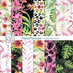This Watercolor Tropical Flamingos Digital Papers pack in tropical colors…