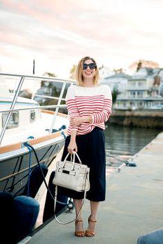 nautical stripes  / The Boston Fashionista (wearing: @uniqlo culottes, @coach soft swagger bag)