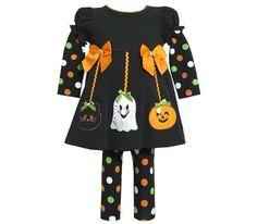 Bonnie Jean Girls Polka-Dot Halloween Pant Set