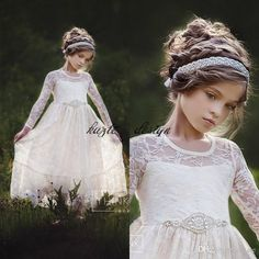 Cute Country Lace Flower Girls Dresses For Weddings Long Sleeves Floor Length A Line First Communion Toddler Party Dresses with Crystal Sash Flower Girl Dress Cinderella Dress Girls Pageant Dress Online with $89.15/Piece on Kazte's Store | DHgate.com